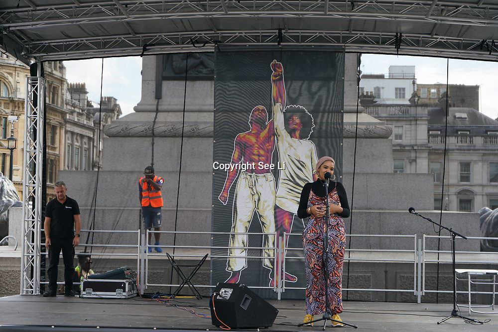 Trafalgar square, London, England, UK. 19th August 2017. My Tribe organizes a Slavery Remembrance National Memorial 2017 for the victims of the Transatlantic Slave Trade/African Holocaust. The wound hasn't healed, the nightmare arises repeat of imperialism and fascist rising in racist attacks in the UK and globally.