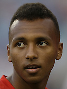 JACKSONVILLE, FL - JUNE 07:  Defender Julian Green #16 of the United States looks in the crowd during the international friendly match against Nigeria at EverBank Field on June 7, 2014 in Jacksonville, Florida.  (Photo by Mike Zarrilli/Getty Images)