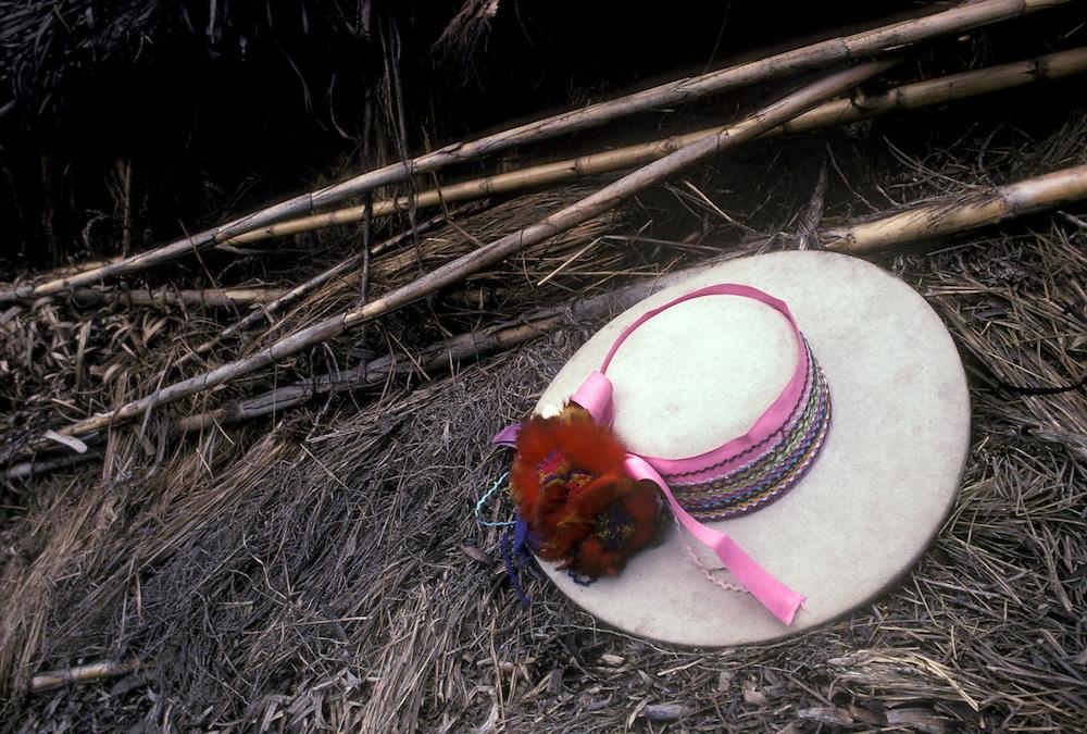 Salasacan Indian hat during festival, Salasaca, Tungurahua, Ecuador