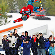 Swiss National Snowboard Team member Christian Haller competes in the half pipe during finals at the 2009 LG Snowboard FIS World Cup at Cypress Mountain, British Columbia, on February 16th, 2009. Haller finished 9th in a field of 70.