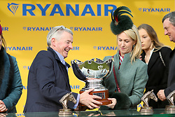 Owner Michael O'Leary celebrates with wife Anita Farrell after wining the Ryanair Steeple Chase with horse Balko des Flos during St Patrick's Thursday of the 2018 Cheltenham Festival at Cheltenham Racecourse.