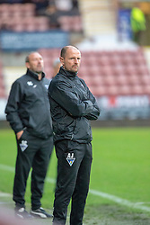 Dunfermline's manager Allan Johnston. Dunfermline 2 v 2 Alloa Athletic. Alloa win on penalties. Irn Bru cup game played 13/10/2018 at Dunfermline's home ground, East End Park.