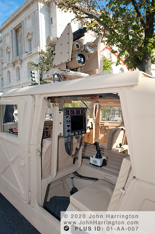 "In this photograph provided by Kongsberg Protech Systems is a demonstration of their ""Protector CROWS"", remote weapons station on Tuesday, October 4th, 2011. Kongsberg Protech Systems invited to members of Congress, senators, and their staff to view and test out the system during their visit to Capitol Hill."