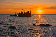 Islands in Lake Superior at sunrise<br />