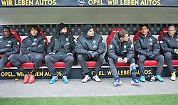 30.03.2013, Coface Arena, Mainz, GER, 1. FBL, 1. FSV Mainz 05 vs SV Werder Bremen, 27. Runde, im Bild die Bremer Ersatzbank mit, von links, Eljero Elia (SV Werder Bremen #11), Mateo Pavlovic (SV Werder Bremen #4), Marko Arnautovic (SV Werder Bremen #7), Sebastian Prödl / Proedl (Bremen #15), Lukas Schmitz (Bremen #13), Özkan / Oezkan Yildirim (Bremen #32) und Christian Vander (Bremen #33) // during the German Bundesliga 27th round match between 1. FSV Mainz 05 and SV Werder Bremen at the Coface Arena, Mainz, Germany on 2013/03/30. EXPA Pictures © 2013, PhotoCredit: EXPA/ Andreas Gumz ***** ATTENTION - OUT OF GER *****