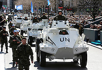 Members of the Irish Defence Forces pictured  in  some of the older United Nations armoured Cars, during the 1916 Easter Rising Commemoration Parade on Dublin's O Connell St. Picture Credit: Frank Mc Grath<br /> 27/3/16