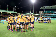 Brumbies and Waratahs huddle. NSW Waratahs v ACT Brumbies. 2021 Super Rugby AU Round 7 Match. Played at Sydney Cricket Ground on Friday 2 April 2021. Photo Clay Cross / photosport.nz