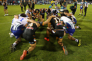 Warriors and Tigers players huddle for the post match prayer. Wests Tigers v Vodafone Warriors, NRL Rugby League. Campbelltown Stadium, Sydney, Australia. Sunday 24th March 2019. Copyright Photo: David Neilson / www.photosport.nz