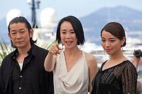 Nagase Masatoshi, Director Naomi Kawase and Ayame Misaki at the Hikari (Vers La Lumiere / Radiance) photo call at the 70th Cannes Film Festival Tuesday 23rd May 2017, Cannes, France. Photo credit: Doreen Kennedy