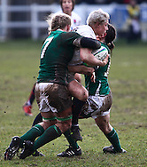 29 Feb 2010 Esher, Surrey: England's Heather Fisher is tackled by Claire Molloy (L) of Ireland during the Women's Six Nations game between England and Ireland at Esher Rugby Club (photo by Andrew Tobin/SLIK images)