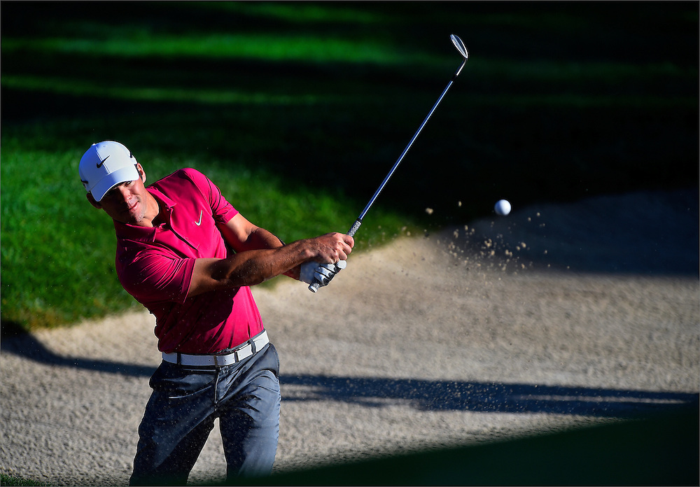 Paul Casey hits his second shot out of a green side bunker on the eleventh hole during the second round of The Barclays Championship held at Plainfield Country Club in Edison, New Jersey on August 28.