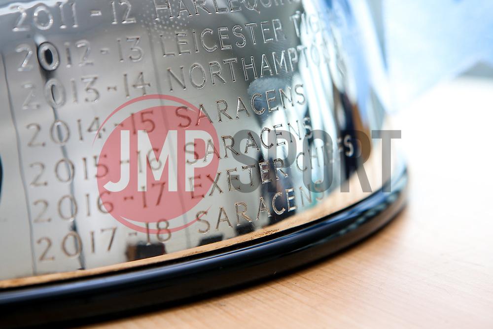 Alex Lozowski, Ian Peel of Saracens, George Furbank and Phil Dowson of Northampton Saints and Les Kiss and Franco Van Der Merwe of London Irish help to launch the 2019/20 Gallagher Premiership Rugby fixtures  - Mandatory by-line: Robbie Stephenson/JMP - 10/07/2019 - RUGBY - BT Tower - London, England - Gallagher Premiership Rugby 2019/20 fixture launch