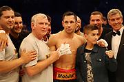 BOXEN: Middleweight, Felix Sturm - Predrag Radosevic, Dortmund, 06.07.2013<br /> Trainer Fritz Sdunek, Felix Sturm (GER), Lukas Podolski and Michael Buffer<br /> ©Torsten Helmke