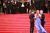 Actress Jessica Chastain with Thierry Fremaux at the Foxcatcher gala screening red carpet at the 67th Cannes Film Festival France. Monday 19th May 2014 in Cannes Film Festival, France.