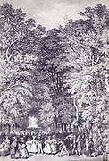 the big avenue in Bad Pyrmont, Germany. lithography by G. Osterwald 1850