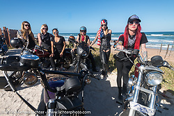 The Iron Lillies at the High Tides restaurant in Flagler Beach while on the Hot Leathers ride during the Daytona Bike Week 75th Anniversary event. FL, USA. Tuesday March 8, 2016.  Photography ©2016 Michael Lichter.
