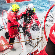 Leg 7 from Auckland to Itajai, day 09 on board MAPFRE, Xabi Fernandez talking with Antonio Cuervas-Mons, 26 March, 2018.