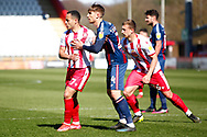 Elliott List of Stevenage is marked by Paudie O'Connor of Bradford City during the EFL Sky Bet League 2 match between Stevenage and Bradford City at the Lamex Stadium, Stevenage, England on 5 April 2021.
