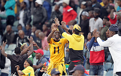 20112018 (Durban)<br /> fans celebrates  during a match were Bafana Bafana and Paraguay have drawn 1-1 in the Nelson Mandela Challenge match played at Moses Mabhida Stadium in Durban on Tuesday evening.<br /> Picture: Motshwari Mofokeng/African News Agency (ANA)