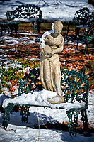 Fountain statue after a winter snowstorm. Image taken with a Fuji X-T2 camera and 100-400 mm lens (ISO 200, 100 mm, f/5.6, 1/1100 sec).