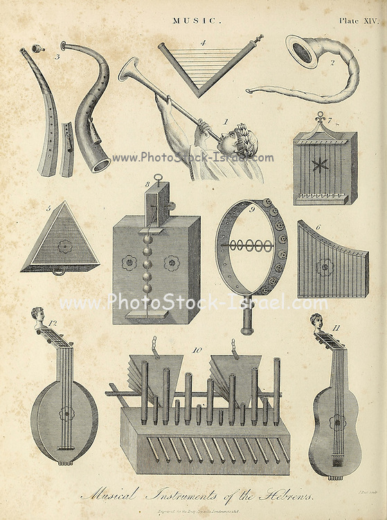 Music Instruments of the Hebrews Copperplate engraving From the Encyclopaedia Londinensis or, Universal dictionary of arts, sciences, and literature; Volume XVI;  Edited by Wilkes, John. Published in London in 1819