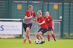 NEWPORT, WALES - Friday, October 5, 2018: Wales' goalkeeper Deanna Lewis (L) and Rachel Rowe (R) during a training session at Dragon Park. (Pic by David Rawcliffe/Propaganda)