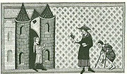 Leprosy: Leper with begging bowl and bell or rattle which he is shaking to warn that he is 'unclean'.  Engraving after a 13th century manuscript 'Miroir historial' of Vincent  de Beauvais.