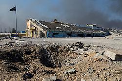 November 23, 2016 - Qayyara, Ninewa Province, IRAQ - The futbol field destroyed by ISIS inside the town of Qayyara. Under their strict in interpretation of Islam sports are not allowed. (Credit Image: © Gabriel Romero via ZUMA Wire)