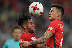July 2, 2017 - Saint Petersburg, Russia - Mauricio Isla (L), Charles Aranguiz of the Chile national football team vie for the ball during the 2017 FIFA Confederations Cup final match between Chile and Germany at Saint Petersburg Stadium on July 02, 2017 in St. Petersburg, Russia. (Credit Image: © Igor Russak/NurPhoto via ZUMA Press)