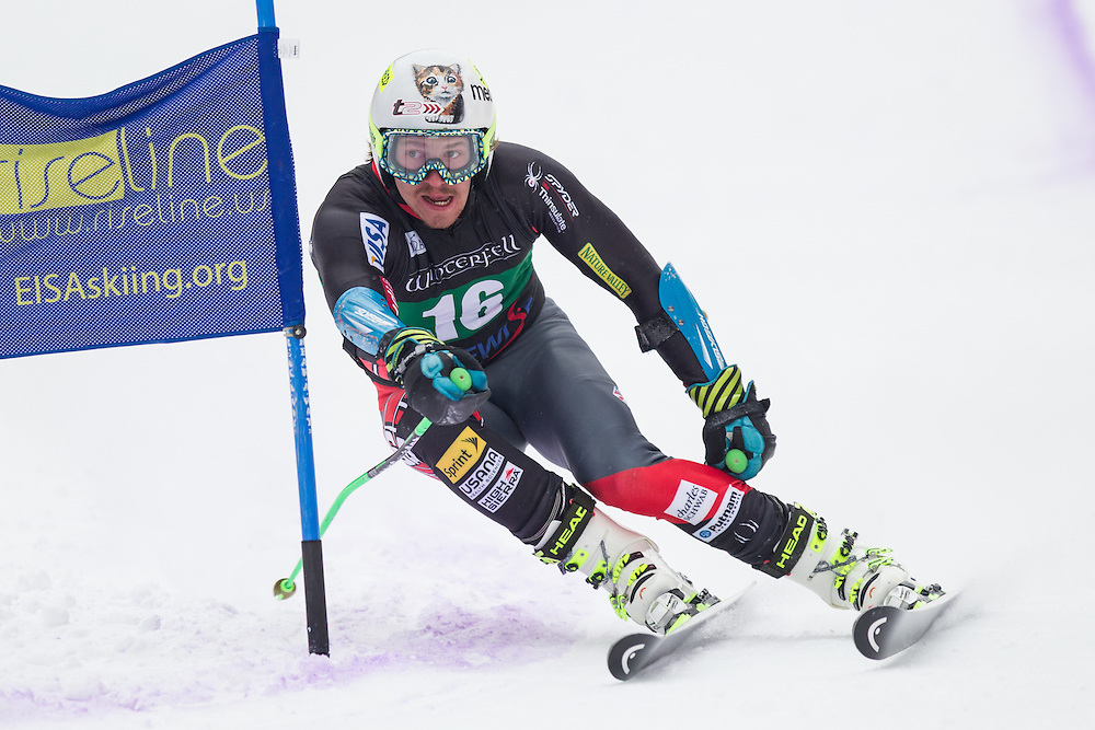 Robby Kelley, skis during the second run of the men's giant slalom at Jiminy Peak on February 15, 2014 in Hancock, MA. (Dustin Satloff/EISA)