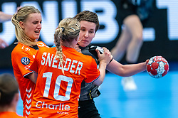 Kelly Dulfer of Netherlands, Danick Snelder of Netherlands, Alina Grijseels of Germany in action during the Women's EHF Euro 2020 match between Netherlands and Germany at Sydbank Arena on december 14, 2020 in Kolding, Denmark (Photo by RHF Agency/Ronald Hoogendoorn)