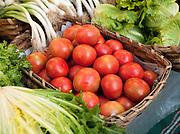 Fresh produce for sale at a market stall in San Sebastian, Spain