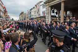 Windsor, UK. 18 May, 2019. Household Cavalry veterans accompany the Household Cavalry as they exercise their right to a Freedom of Entry March through Windsor by way of a farewell to the town where they have been based for over 200 years in advance of their relocation to Salisbury Plain later this year. The march comprised up to 250 marching troops, 8 mounted troops, the Band of the Household Cavalry and veterans.