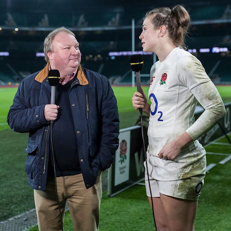 Gary Street and Emily Scarratt doing post match media, England Women v France Women in a 6 Nations match at Twickenham Stadium, London, England, on 4th February 2017 Final Score 26-13.