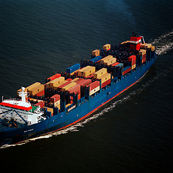 Aerial Photograph of a Cargo tanker  traveling North in the Chesapeake Bay, maryland