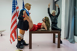 "© Licensed to London News Pictures. 28/10/2020. LONDON, UK. Satirical artist Alison Jackson poses with her work ""Donald Trump"", 2020, on display at the Soho Revue Gallery in Soho, 28 October to 3 November 2020.  Constituents in the United States will cast their vote in the upcoming Presidential Election on 3 November.  Photo credit: Stephen Chung/LNP"