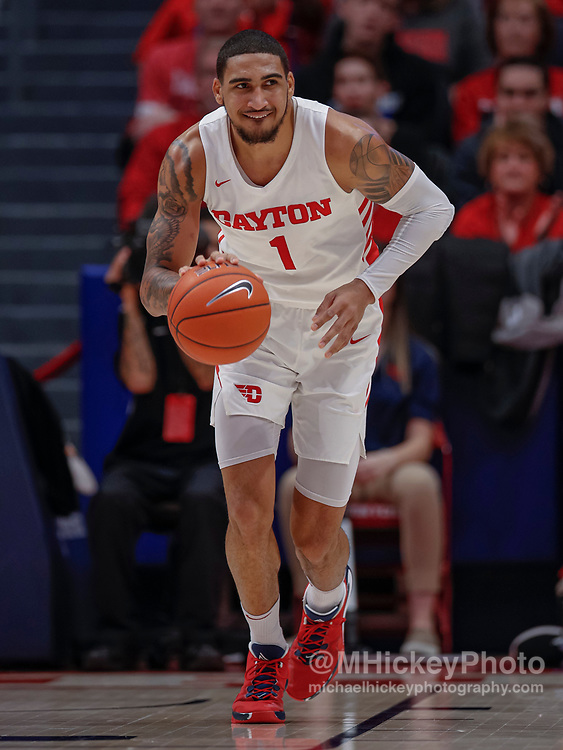 DAYTON, OH - FEBRUARY 01: Obi Toppin #1 of the Dayton Flyers brings the ball up court during the game against the Fordham Rams during the second half at UD Arena on February 1, 2020 in Dayton, Ohio. (Photo by Michael Hickey/Getty Images) *** Local Caption *** Obi Toppin