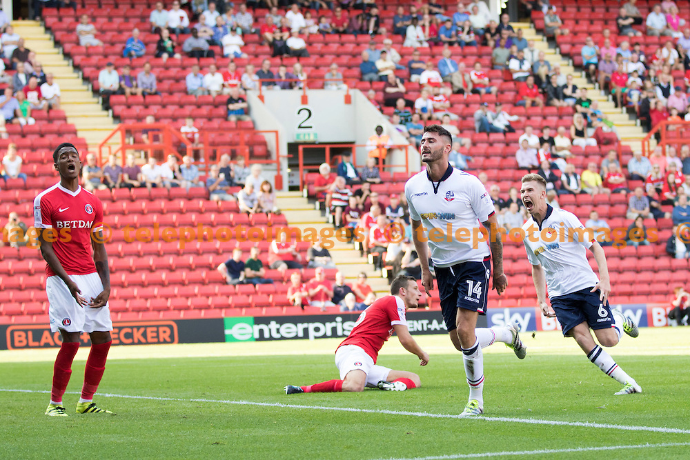 Gary Madine puts Bolton in the lead during the Sky Bet League 1 match between Charlton Athletic and Bolton Wanderers at The Valley in London. August 27, 2016.<br /> Sam Falaise / Telephoto Images<br /> +44 7967 642437