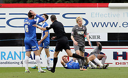 Peterborough United's Ben Nugent (floored) reacts after match referee C Berry awards Rotherham a penalty kick - Photo mandatory by-line: Joe Dent/JMP - Mobile: 07966 386802 22/03/2014 - SPORT - FOOTBALL - Peterborough - London Road Stadium - Peterborough United v Rotherham United - Sky Bet League One