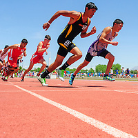 052014  Adron Gardner/Independent<br /> <br /> Miyamura Patriot Niles Thomas, right, launches with other runners at the start of the 4A boys 800m race during the New Mexico State track meet at the University of New Mexico in Albuquerque Saturday.