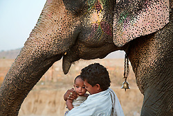 Mir Hasan holds his daughter, Chandtara, with the elephant they live with and take care of, Rajleali, at the Elephant Village in Jaipur, India. Mahouts, or elephant keepers, are commonly family professions, and the trainers are assigned an elephant early in its life. They remain bonded to each other throughout their lives.