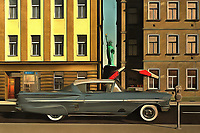 This acryl on canvas painting brings some icons together. The Chevy Impala in this piece is definitely the most dynamic element. To be sure, this is a car that packs some pretty amazing memories to the forefront for some. However, the car is not the only aspect to this piece that is important to consider. The car stands in the middle of one of the most legendary cities in the world. The Big Apple is a city of stunning contrasts and possibilities. This Impala, with the Statue of Liberty behind it, is just one possibility. Available as wall art, t-shirts, or as interior products. .<br />