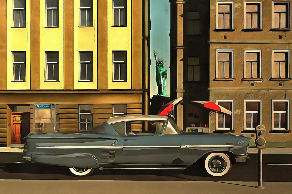 This acryl on canvas painting brings some icons together. The Chevy Impala in this piece is definitely the most dynamic element. To be sure, this is a car that packs some pretty amazing memories to the forefront for some. However, the car is not the only aspect to this piece that is important to consider. The car stands in the middle of one of the most legendary cities in the world. The Big Apple is a city of stunning contrasts and possibilities. This Impala, with the Statue of Liberty behind it, is just one possibility. Available as wall art, t-shirts, or as interior products. .<br /> <br /> BUY THIS PRINT AT<br /> <br /> FINE ART AMERICA<br /> ENGLISH<br /> https://janke.pixels.com/featured/chevrolette-impala-at-the-big-apple-jan-keteleer.html<br /> <br /> WADM / OH MY PRINTS<br /> DUTCH / FRENCH / GERMAN<br /> https://www.werkaandemuur.nl/nl/shopwerk/Retro---Klassiek-Chevrolet-Impala-in-New-York/439372/134