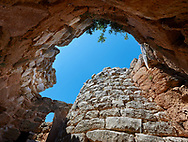 Pictures and image of the interior of the Nuraghe tower of Palmavera prehistoric  Nuraghe tower archaeological site, middle Bronze age (1500 BC), Alghero, Sardinia. .<br /> <br /> If you prefer you can also buy from our ALAMY PHOTO LIBRARY  Collection visit : https://www.alamy.com/portfolio/paul-williams-funkystock/palmavera-nuraghe-sardinia.html<br /> Visit our PREHISTORIC PLACES PHOTO COLLECTIONS for more   photos  to download or buy as prints https://funkystock.photoshelter.com/gallery-collection/Prehistoric-Neolithic-Sites-Art-Artefacts-Pictures-Photos/C0000tfxw63zrUT4