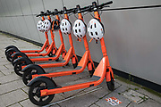 A row of Neuron Mobility e-scooters is pictured on 26th November 2020 in Slough, United Kingdom. Neuron Mobility launched a rental trial scheme in Slough allowing residents to hire 250 e-scooters using a smartphone app and to ride them in the borough's bus and on-road cycle lanes but not on any pavements including shared pavements.
