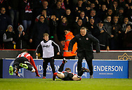Chris Wilder manager of Sheffield Utd joins in with the John Fleck of Sheffield Utd celebration during the English League One match at Bramall Lane Stadium, Sheffield. Picture date: April 5th 2017. Pic credit should read: Simon Bellis/Sportimage