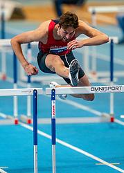 Liam van der Schaaf win the 60 meter hurdles during the Dutch Indoor Athletics Championship on February 23, 2020 in Omnisport De Voorwaarts, Apeldoorn