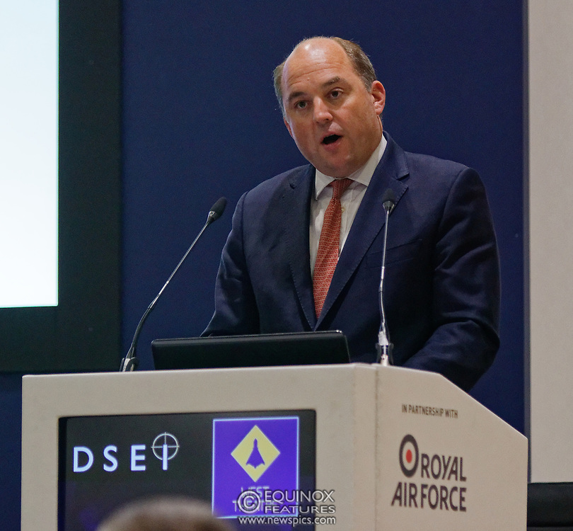 London, United Kingdom - 11 September 2019<br /> The Rt Hon Ben Wallace MP. Secretary of State for Defence for the UK Government presents keynote address speech to audience at DSEI 2019 security, defence and arms fair at ExCeL London exhibition centre.<br /> (photo by: EQUINOXFEATURES.COM)<br /> Picture Data:<br /> Photographer: Equinox Features<br /> Copyright: ©2019 Equinox Licensing Ltd. +443700 780000<br /> Contact: Equinox Features<br /> Date Taken: 20190911<br /> Time Taken: 12382700<br /> www.newspics.com