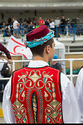 Northern Cypriots in traditional dance.  Karpatalya beat Northern Cyprus 3 -2 in penalties during the Conifa Paddy Power World Football Cup finals on the 9th June 2018 at Queen Elizabeth II Stadium in Enfield Town in the United Kingdom. Team mates from the Turkish Republic of Northern Cyprus  take on the Hungarians in Ukraine for the CONIFA World Football Cup final. CONIFA is an international football tournament organised by CONIFA, an umbrella association for states, minorities, stateless peoples and regions unaffiliated with FIFA. (photo by Sam Mellish / In Pictures via Getty Images)
