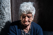 An old woman, citizen of the village of Aieta, Italy. Aieta (also written in Ajeta form) is an Italian municipality of 814 inhabitants in the province of Cosenza in Calabria. Municipal territory is an integral part of the Pollino National Park.